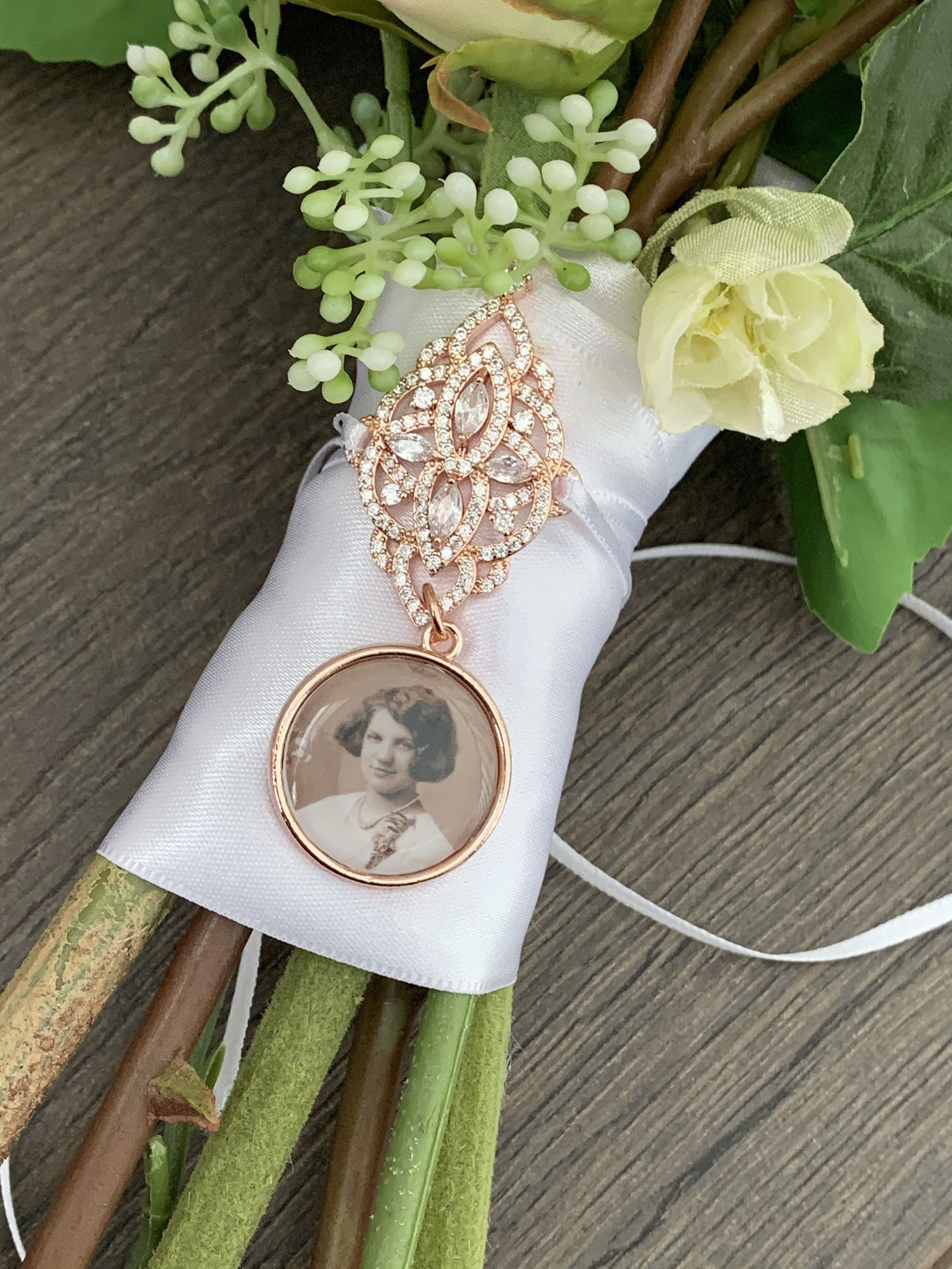 bridal jewelry Bridal bouquet memory charm remembering loved ones on your wedding day