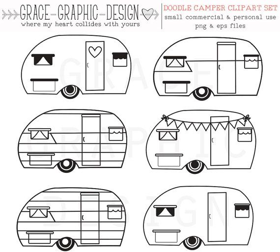 Camper Vector Original Hand Drawn Clipart Pack This Digital Rh Ca Vintage Pickup Campers Drawings