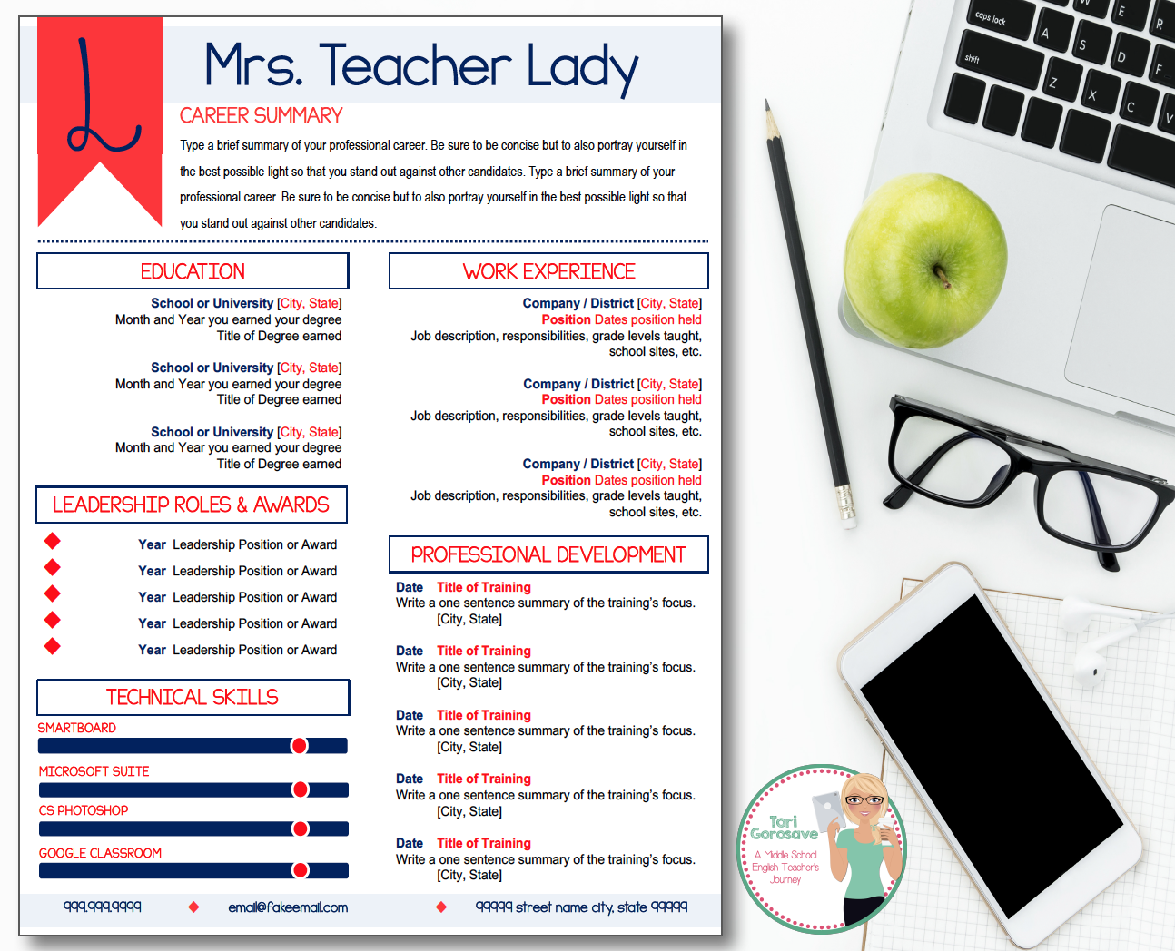 Teacher Resume Template  Elegant Coral And Navy  Microsoft
