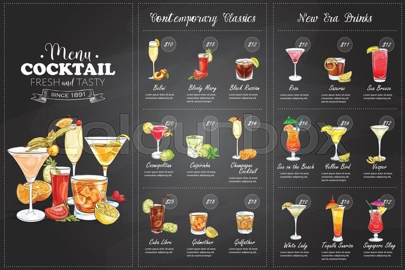 Stock vector of 'Front Drawing horisontal cocktail menu