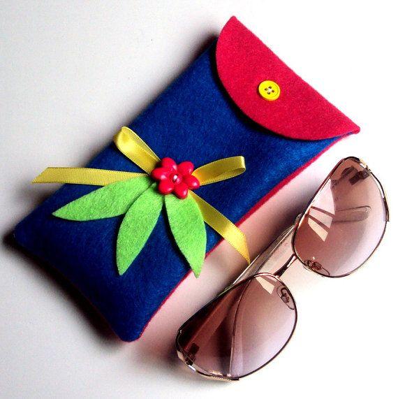 Cobalt blue eyeglass case  pink and blue sunglasses by NezDesigns, $7.00