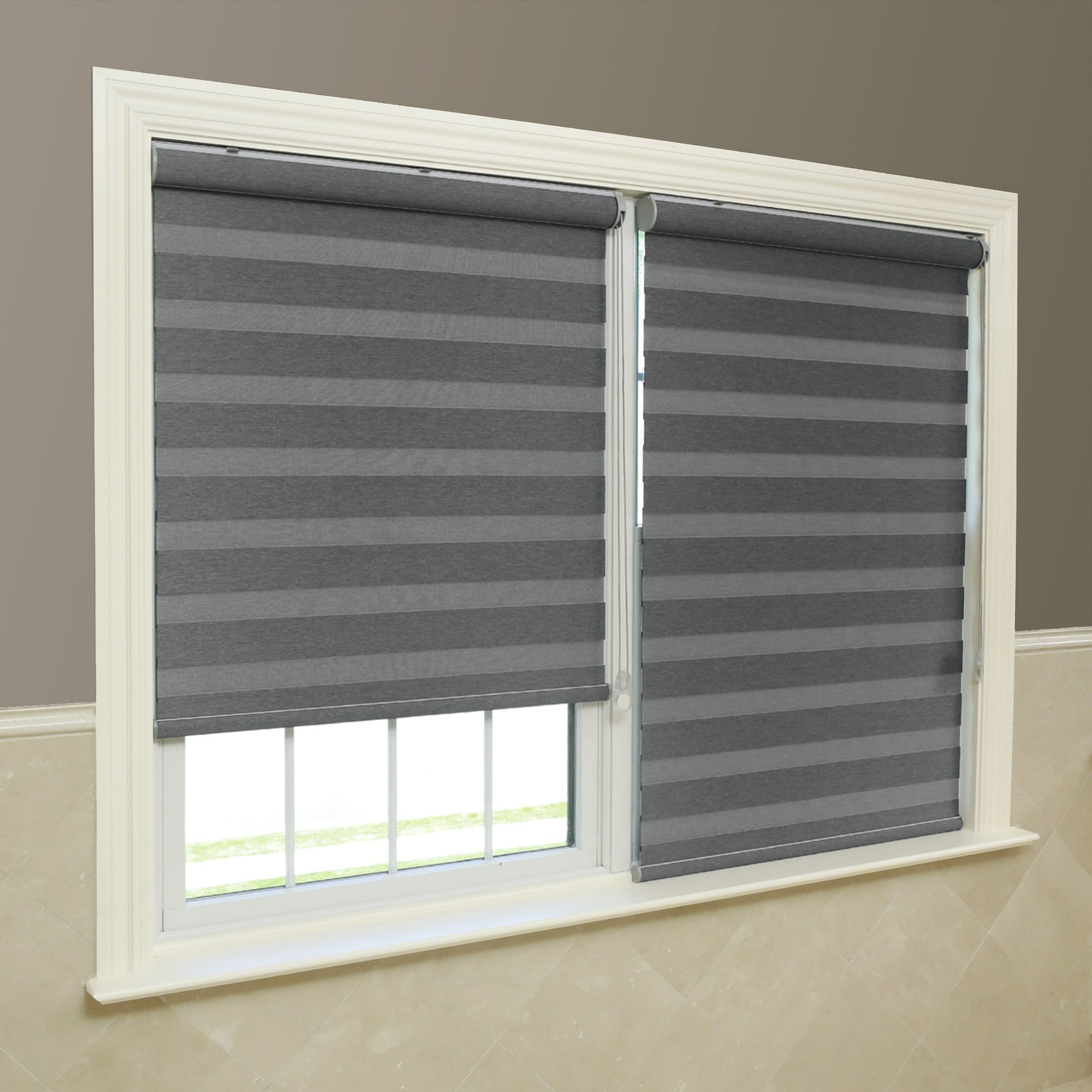 Aurora Home Premium Fabric Grey Sunshut Blackout Window Shade 26