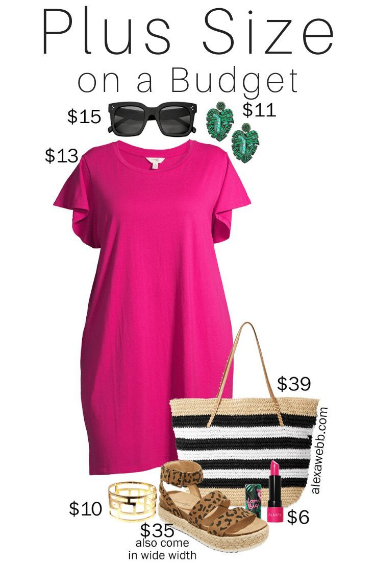 Plus Size on a Budget - T-Shirt Dress Outfit - Alexa Webb