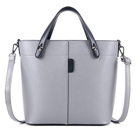 """Metal Rivets PU Leather Tote Bag. Colors: Black, Light Brown, Light Gray, Red. Size: Handbag Medium(30-50cm). SKU:… #Vivoren #Fashion"
