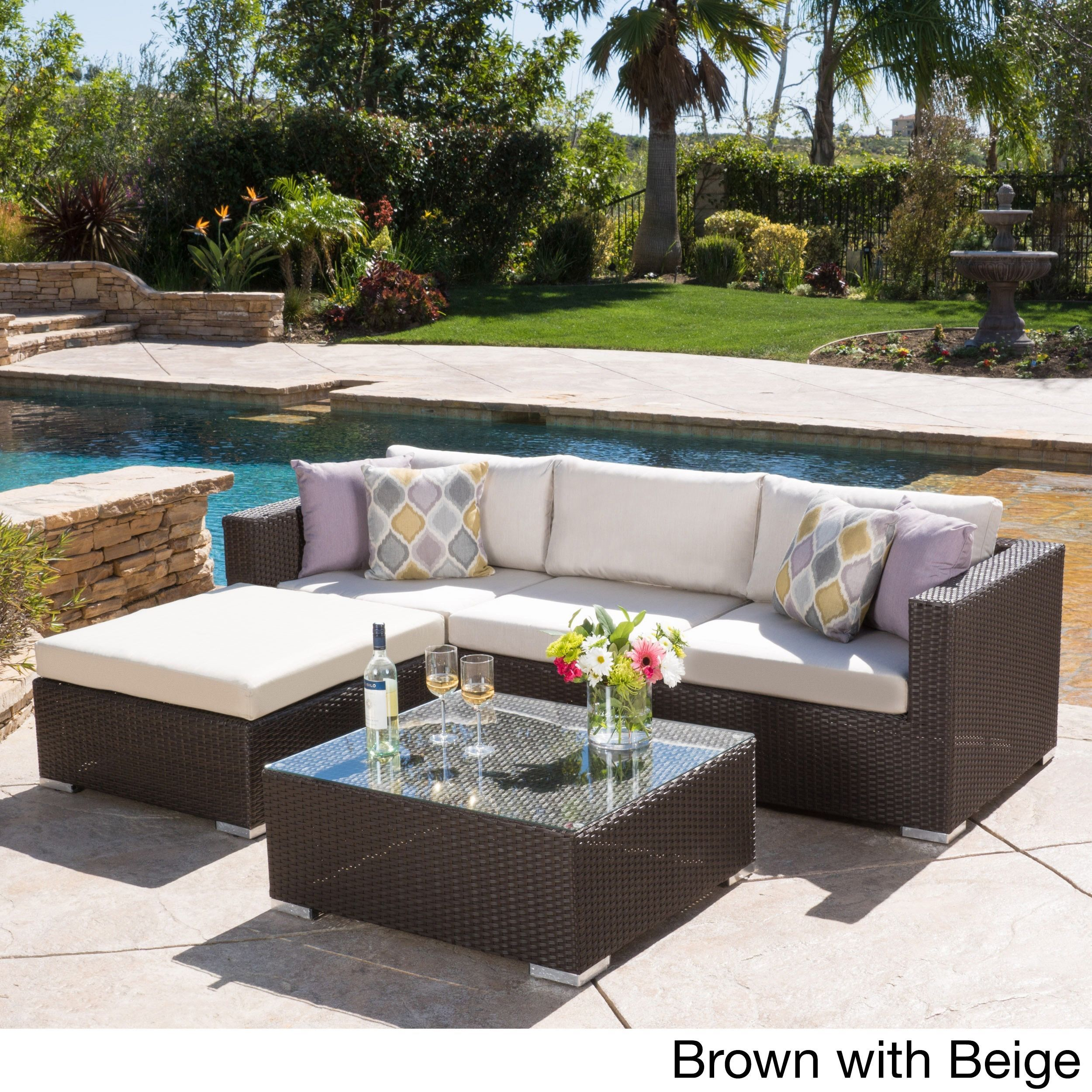 Home garden furniture  Santa Rosa Outdoor piece Wicker Seating Sectional Set with