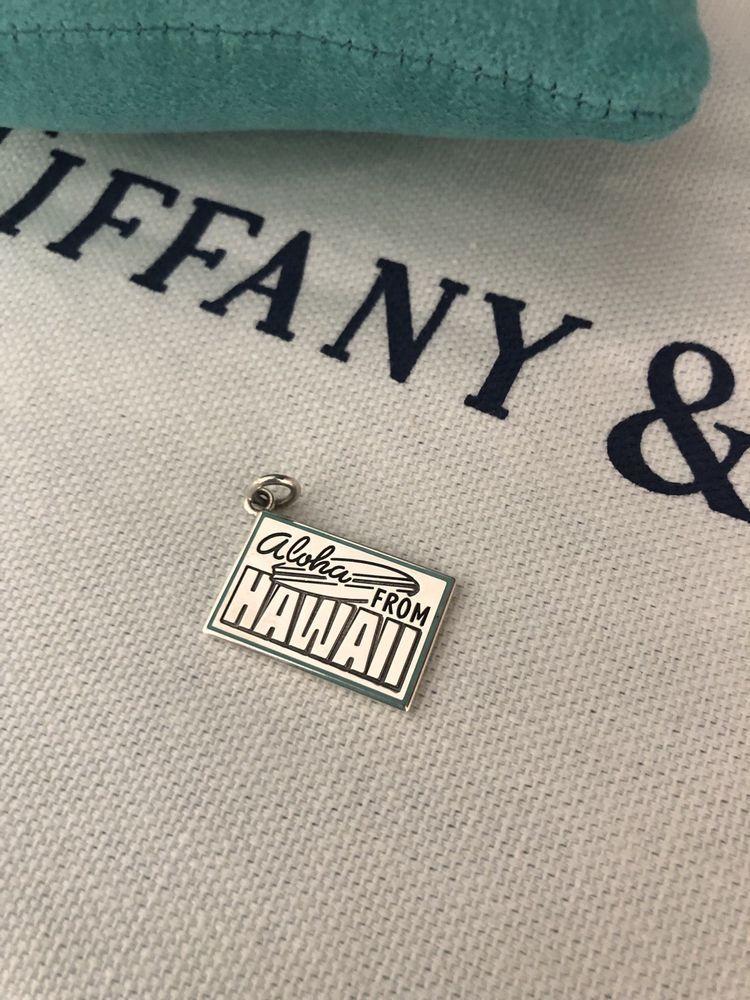 fffe0df0a9ab Tiffany   Co Sterling Silver Blue Enamel Aloha HAWAII Postcard Charm  Limited  TiffanyCo
