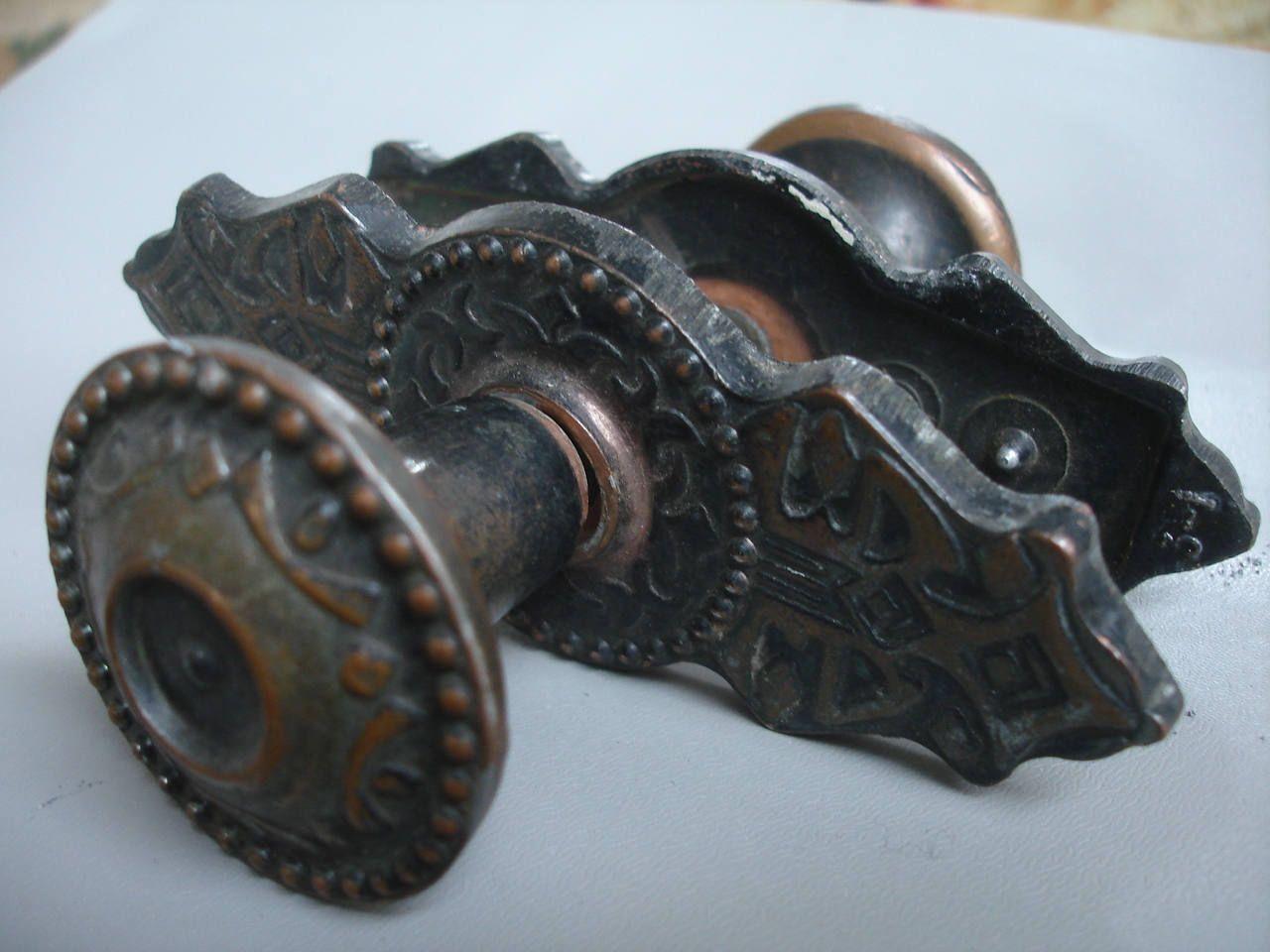 Set Of 2 Vintage Metal Door Knobs, Round Knobs, Vintage Beautiful Metal  Door Knobs