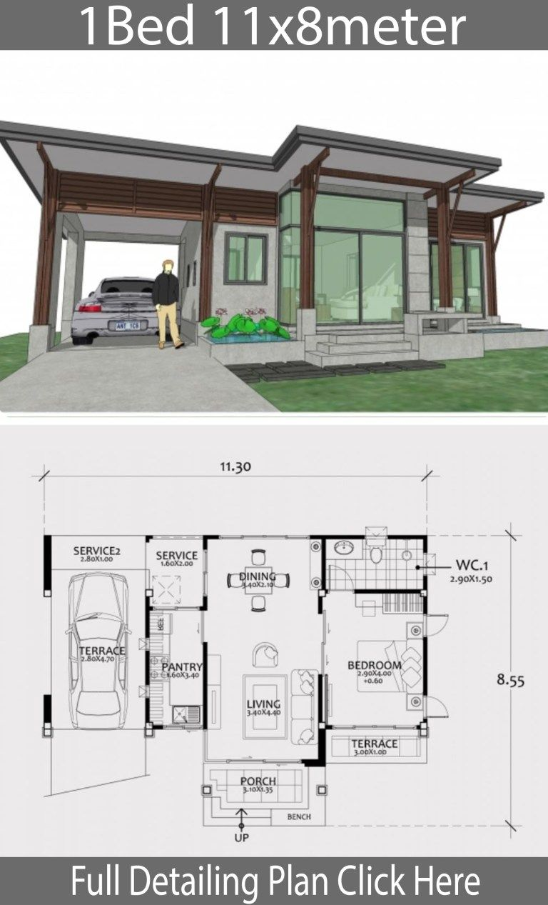 Home Design Plan 11x8m With One Bedroom Home Design Plan Tiny House Floor Plans House Floor Plans