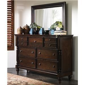 Ashley Millennium Key Town 7 Drawer Dresser U0026 Mirror Combo   Olindeu0027s  Furniture   Dresser U0026