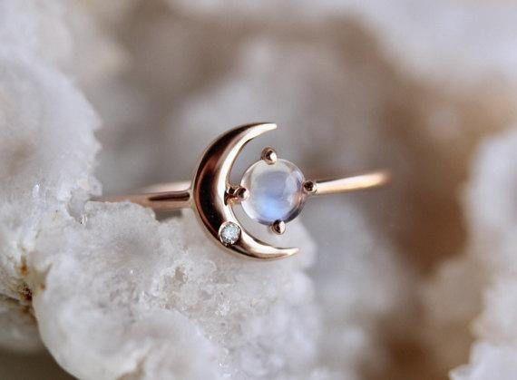 """Anillo de diamantes de piedra lunar de oro de 14Q, anillo """"Luna de mi vida"""", piedra lunar, anillo de piedra lunar, anillo de astrología, anillo delicado, anillo de compromiso de piedra lunar"""