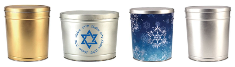 Are you still looking for a gift for each night of Hanukkah? Or perhaps you are planning a Hanukkah party for some friends and need an assortment of treats? We've got the perfect thing!  #Hanukkah #gifts #gourmet #popcorn #holidays #Scottsdale  Hanukkah Holiday Tins - My Popcorn Kitchen