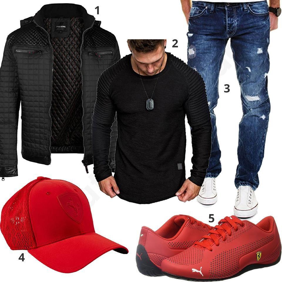 Schwarz Rotes Herrenoutfit mit Ferrari Cap und Schuhen