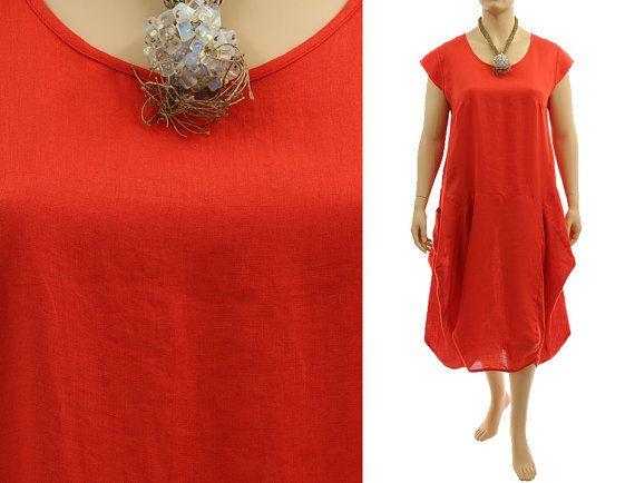 897803cab98 Boho linen maxi dress summer dress in red orange by classydress