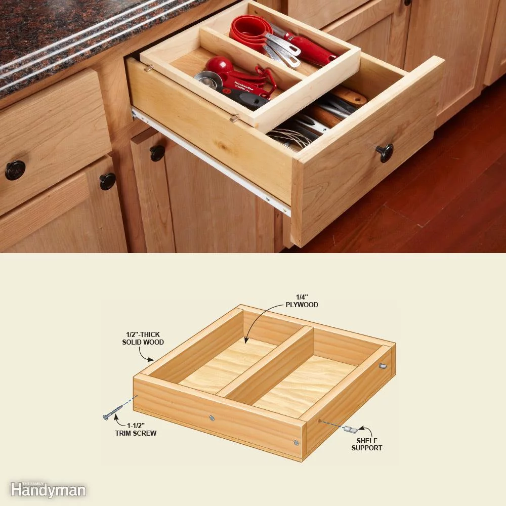 10 Kitchen Cabinet Drawer Organizers You Can Build Yourself In 2020 Kitchen Drawer Organization Cabinets Organization Deep Drawer Organization