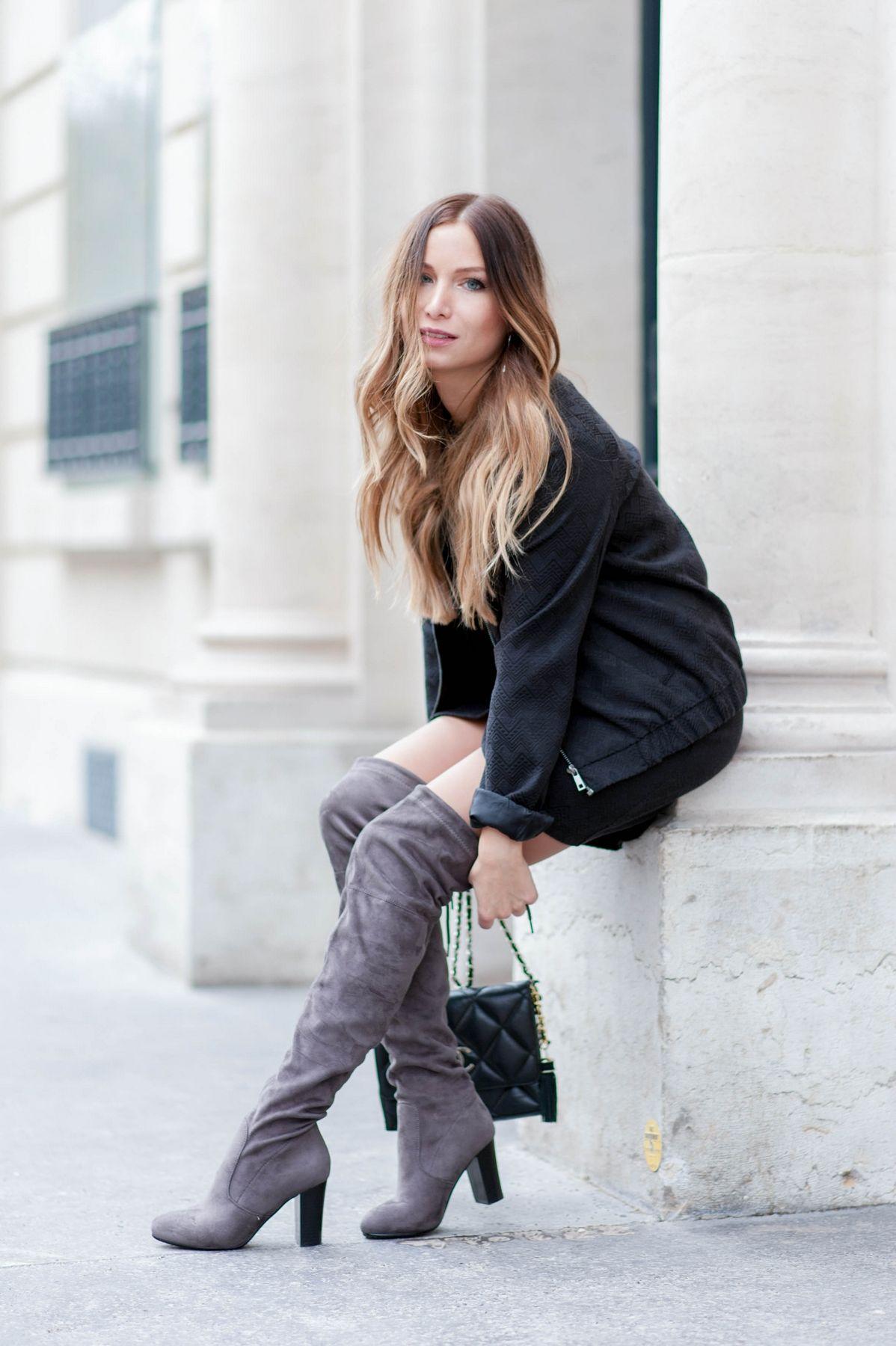 look avec cuissardes grises blog mode boots pinterest cuissardes grises gris et blog. Black Bedroom Furniture Sets. Home Design Ideas