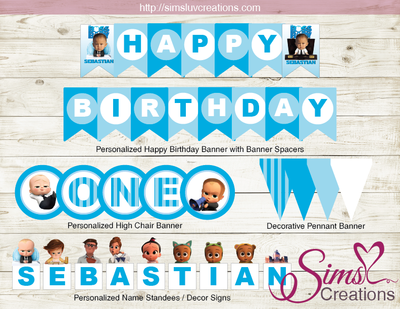 Boss Baby With Custom Photo Birthday Banner High Chair Banner Name Sta Baby Birthday Decorations Baby Birthday Party Boy Personalized Happy Birthday Banner