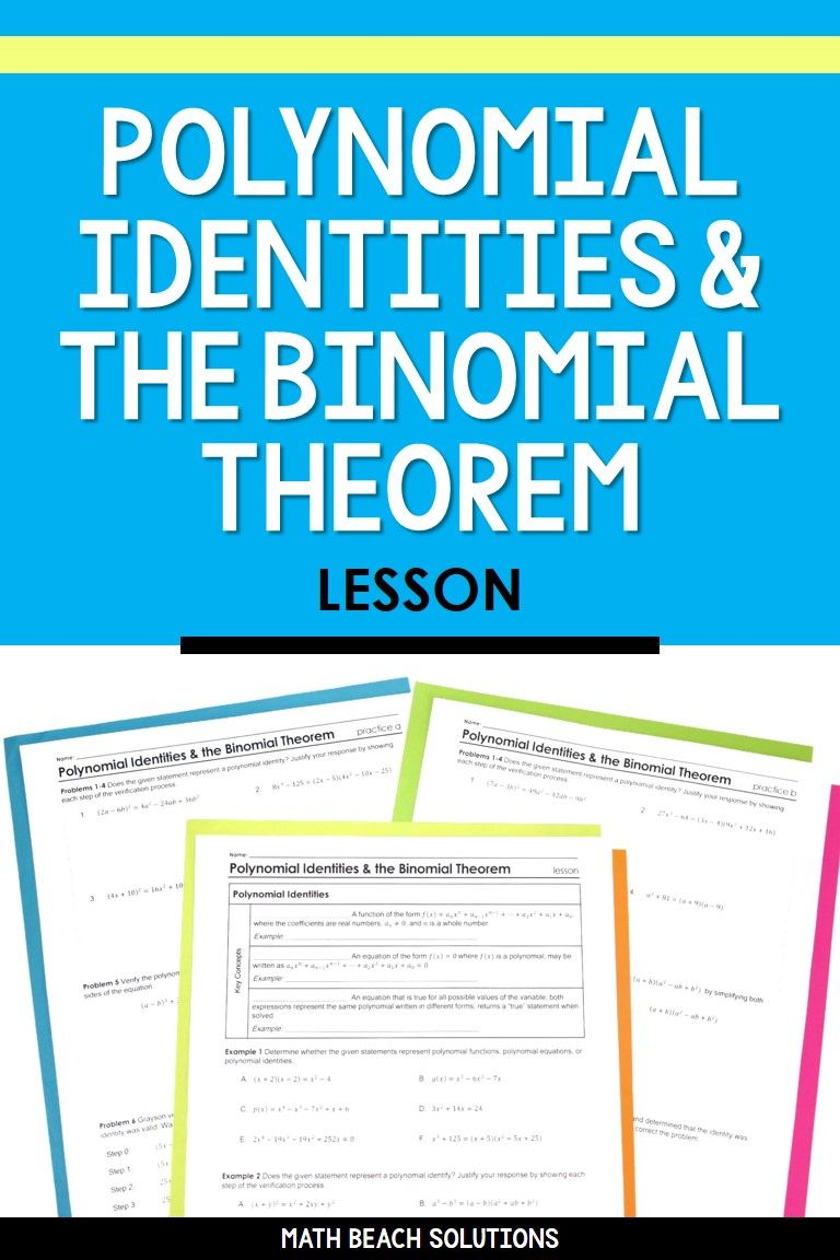 Polynomial Identities And The Binomial Theorem Lesson In 2020 Algebra Lesson Plans Binomial Theorem Binomial Expression
