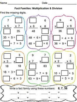 multiplication  division fact families worksheet multiplication  division fact families worksheet  teacherspayteacherscom
