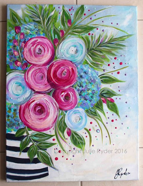 Made By Me Julie Ryder Flowers And Swirls Painting Easy