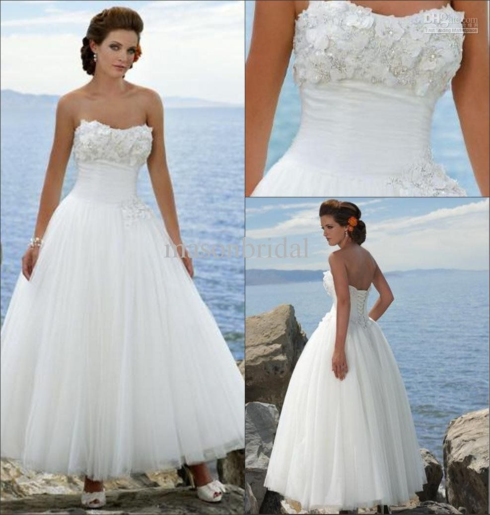 Simple Beach Wedding Dresses | ... Anke length Picture in Wedding ...