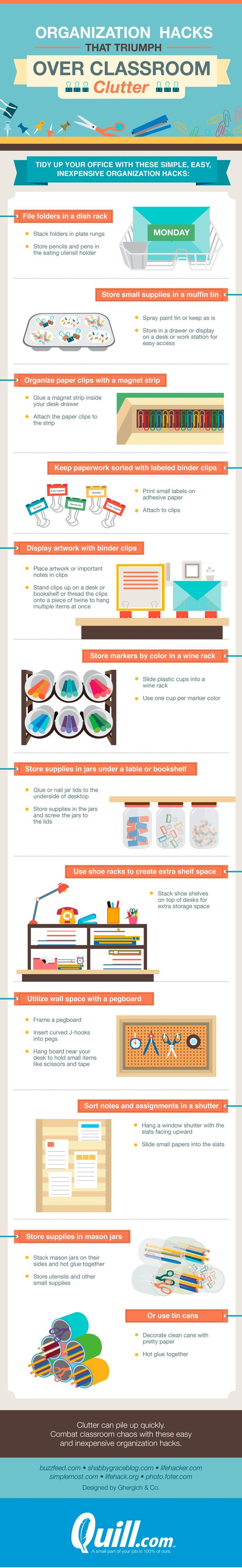Clutter can definitely take over the classroom quickly. As teachers we have every color pen, pencils, folders, and paper for organization. We color code and label everything. Before long all these awesome tools start getting disorganized. Here are some great ideas from Quill for you to get control of the classroom. Brought to you by …