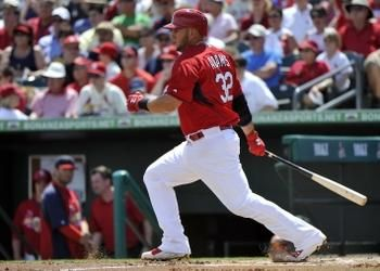 first baseman Matt Adams at bat against the Washington Nationals during a spring training game. Cards won 2-0.  3-21-14