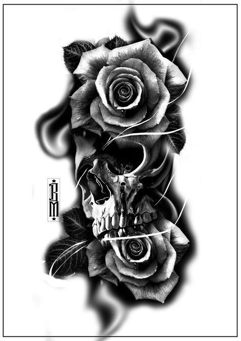 Skull roses smoke tattoo design. Forearm tattoos digital scarry creepy skull black and gray – artist