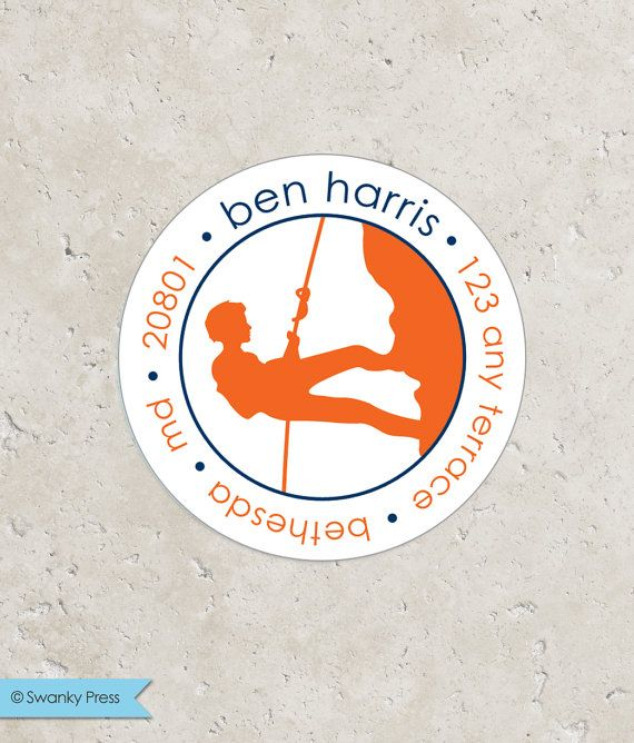 for Favors Treat Bags and Envelope Seals Boy Gymnastics Return Address Sticker