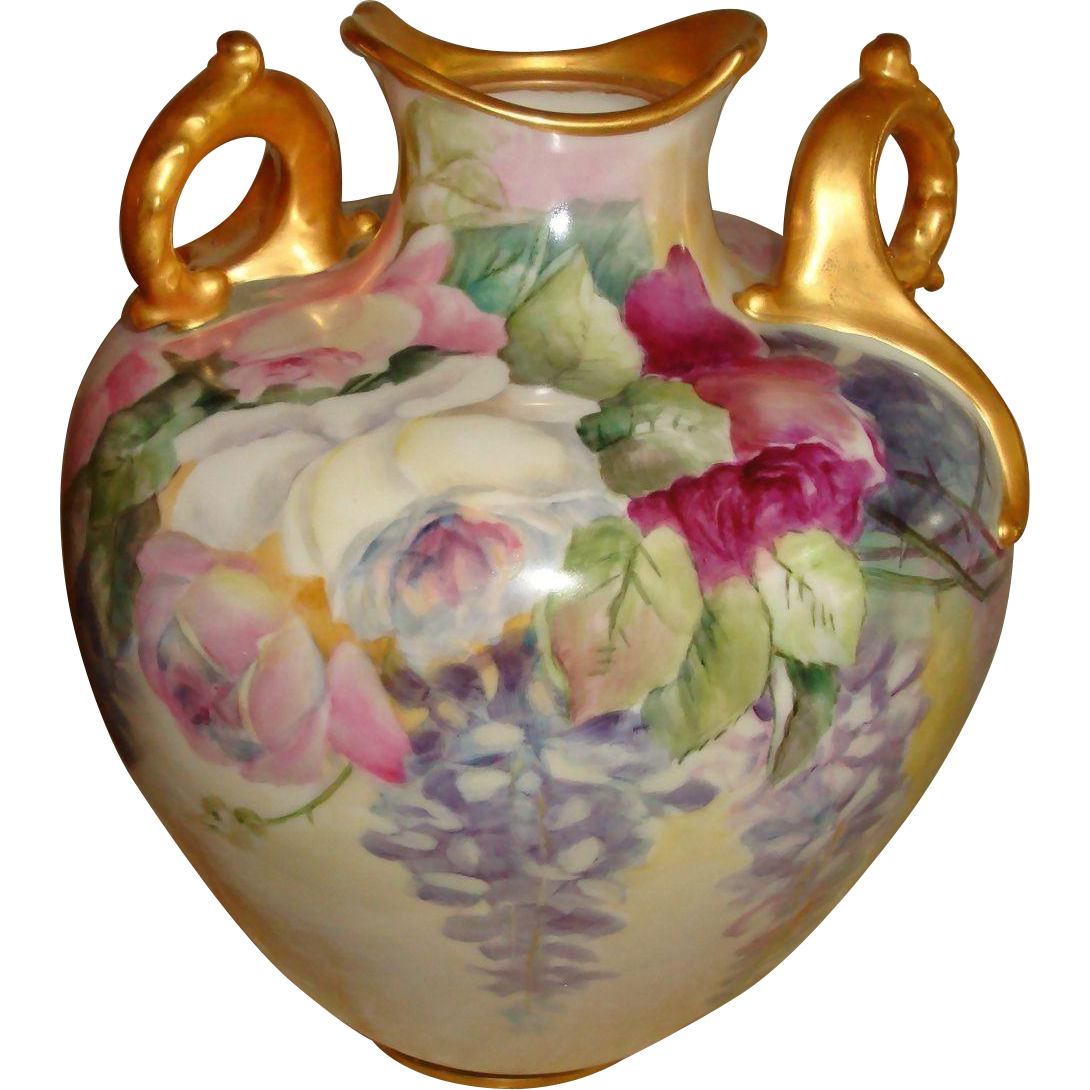 "Here is a gorgeous Ornate Belleek Vase with Roses and Wisteria. Stands 11"" tall and 27 1/4"" in"