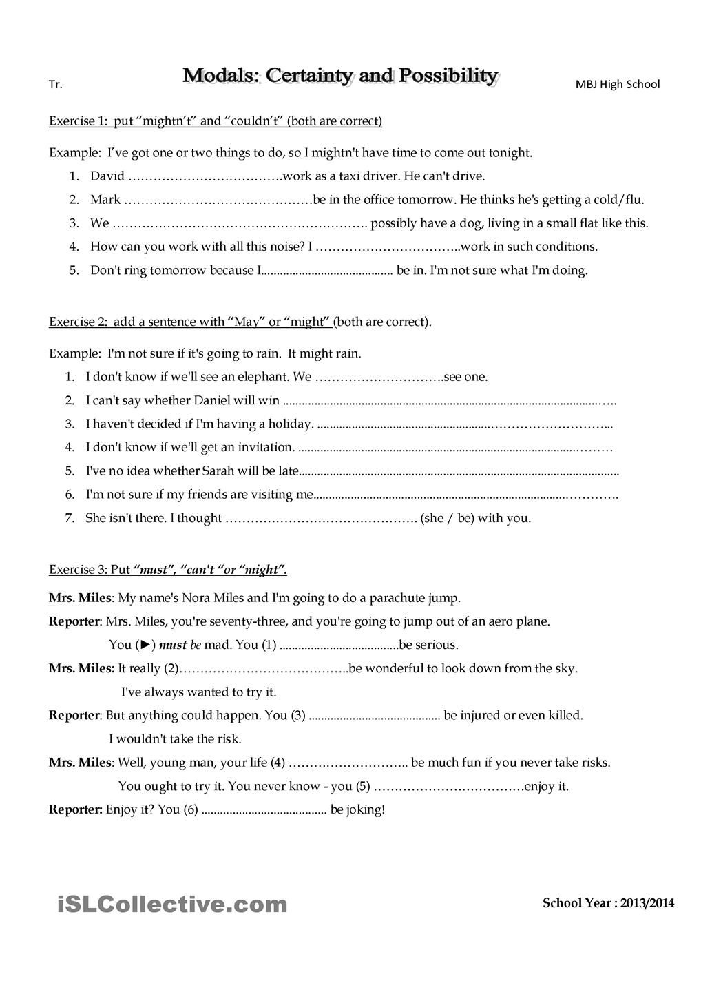 Modals Speculation Exercises Exercise Vocab Worksheets