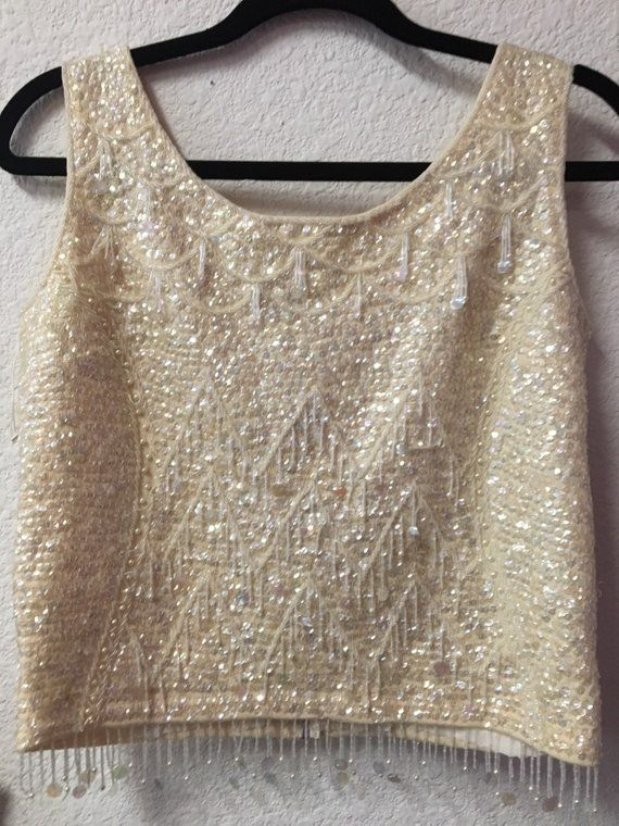1960 S Vintage Beaded Top Beaded Top 1960s Outfits Vintage Tops