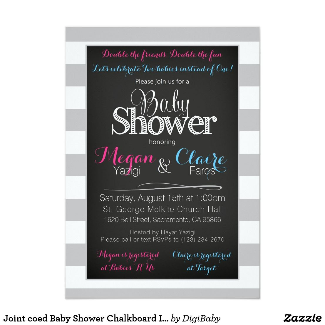 Joint Coed Shared Baby Shower Chalkboard Invitation Card Boy Or