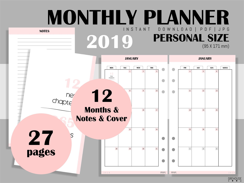 Filofax Monthly planner 2019 agenda printable planner Kikki
