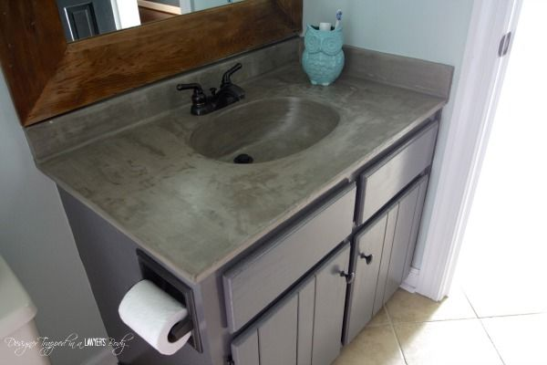 Powder Room Reveal Full Of Awesome Powder Room Ideas Designertrapped Com Countertop Makeover Concrete Diy Diy Vanity