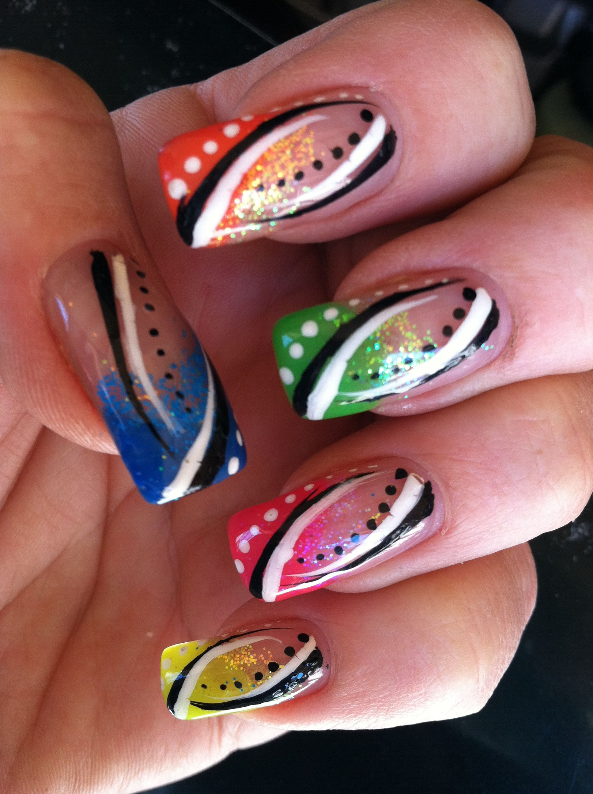 Better pic of neon tips nail art design Nails-go-round in Tucson AZ ...