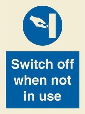 Marine Mandatory Sign Switch Off When Not In Use Symbol