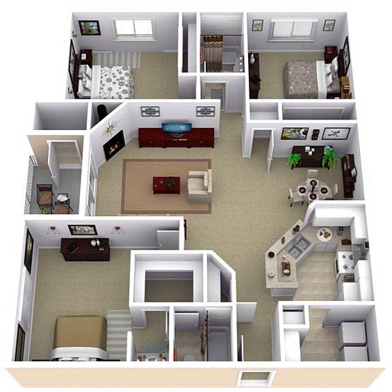Denah Rumah Sederhana 3 Kamar Tidur Denah Rumah Minimalis 3 Kamar Ukuran 6x12 3dimensi 3d Denah Rumah Desain Rumah Rumah Minimalis