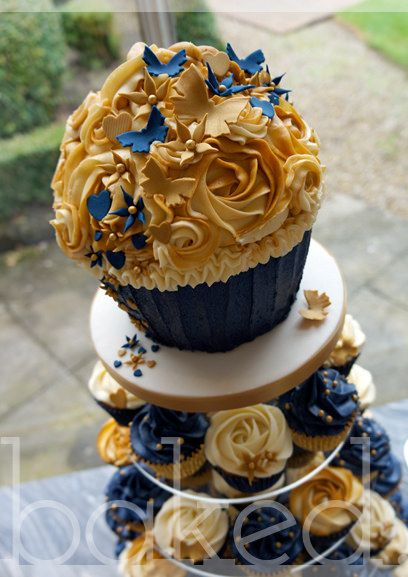 Royal Blue and Gold Cupcake Wedding Tower in 2019   When ...
