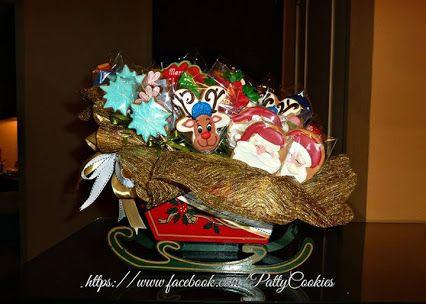 Christmas Cookies bouquet in Santa's sleigh