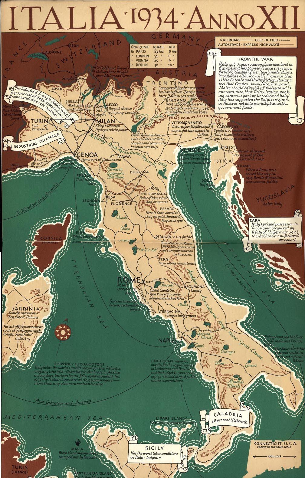 Cartina Dell Italia In Miniatura.Vintage Map Of Italy 1934 Mappe Antiche Mappa Dell Italia Immagini