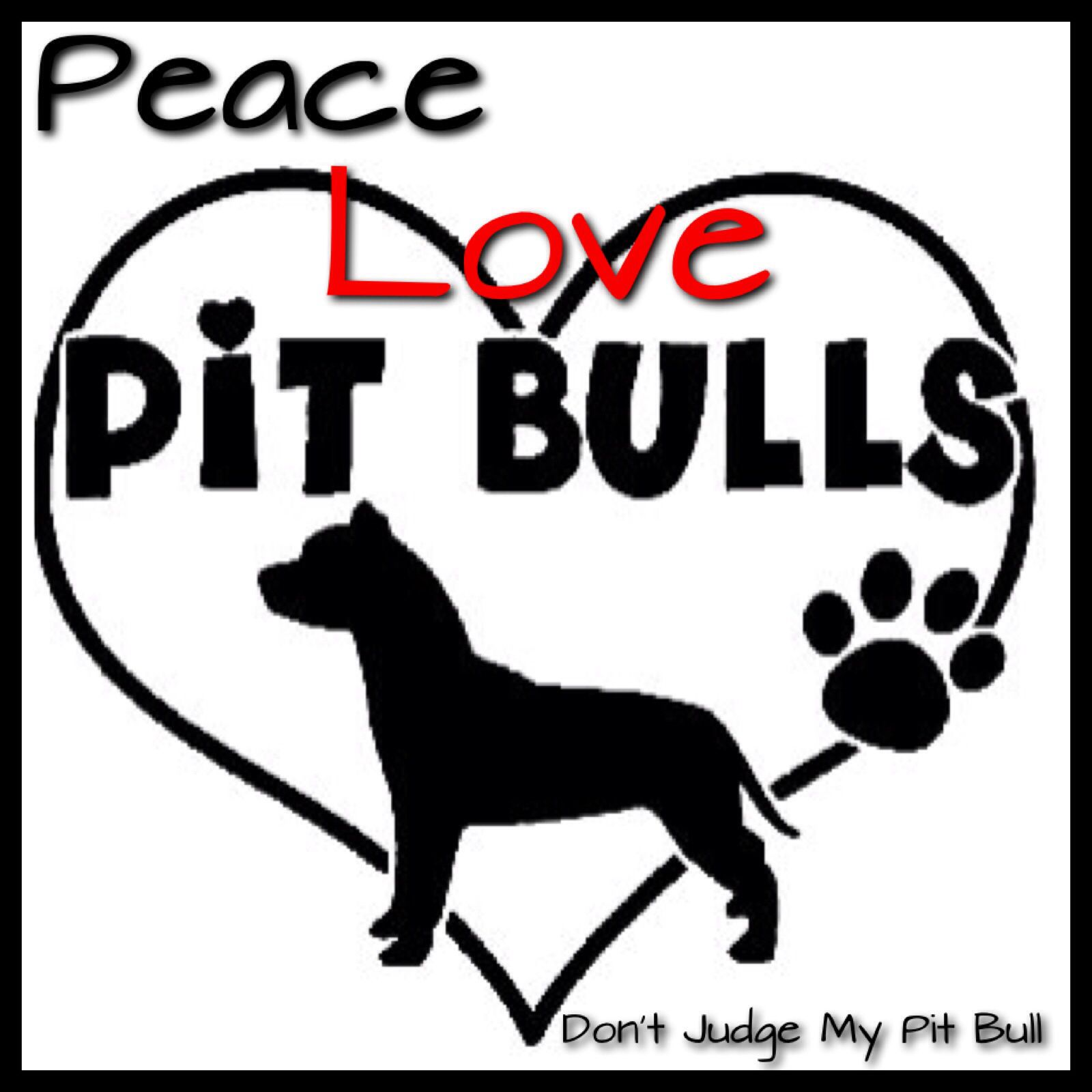 Peace for Pitbulls vinyl decal//sticker dog animal pet Pitbull breed cute love