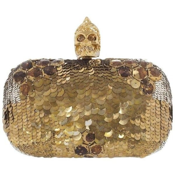 Alexander McQueen Alexander Mcqueen Jaw Skull Sequin Box Clutch Bag