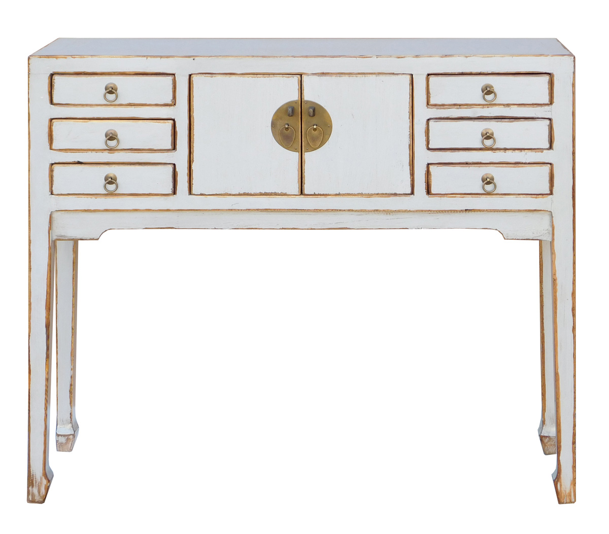 Rustic Distressed Off-White Console Table on Chairish.com