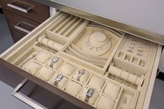 Custom jewelry drawer inserts provide layouts unique to your