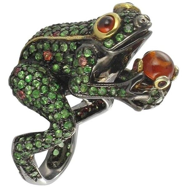 Surprising Tsavorite Garnet Orange Sapphire And Fire Opal Frog Ring (83.965 RUB) ❤ liked on Polyvore featuring jewelry, rings, orange, antique rings, antique sapphire ring, sapphire jewelry, sapphire ring and cabochon ring