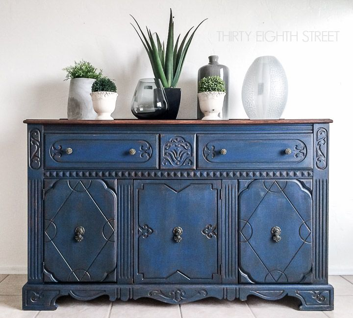Blue Painted Buffet Makeover, Blue Painted Furniture Photos
