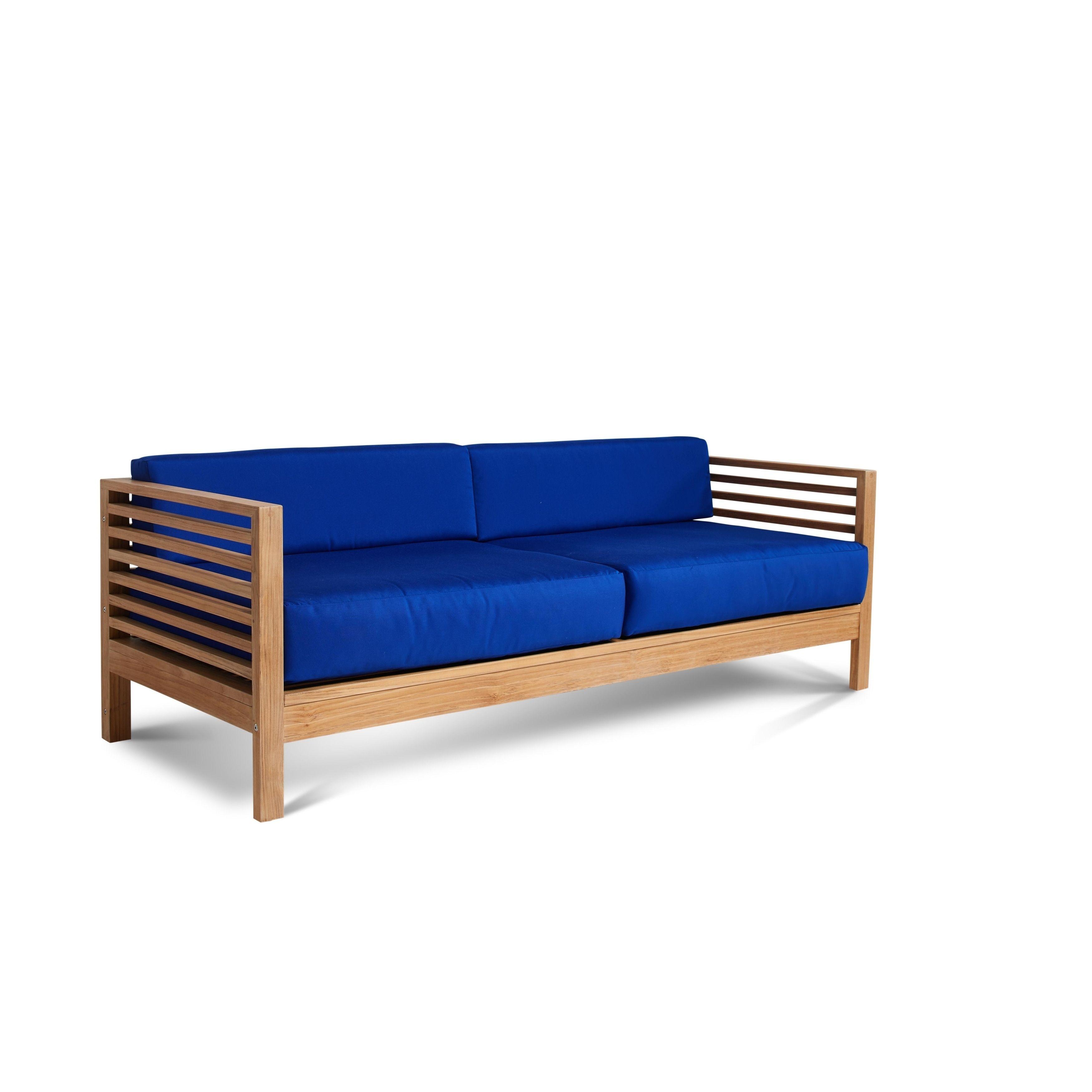 Summer Sofa Blue Teak Outdoor Seating Teak Patio Furniture Patio Sofa Patio Furniture Deals