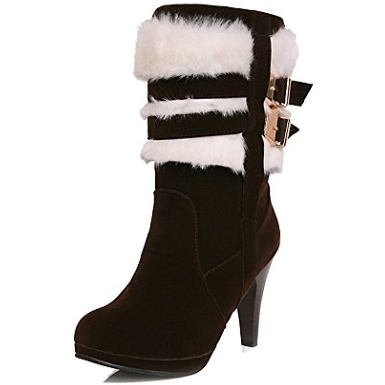 Women's Pull-On Round Closed Toe High Heels Imitated Suede Low Top Boots