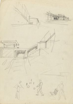 Three perspective sketches and one sketch of MR20 Side Chair with figures Ludwig Mies van der Rohe (American, born Germany. 1886–1969)  c.1929. Pencil on tracing paper, 11 5/8 x 8 3/16 (29.6 x 20.8 cm). Mies van der Rohe Archive, gift of the architect. © 2013 The Museum of Modern Art, New York