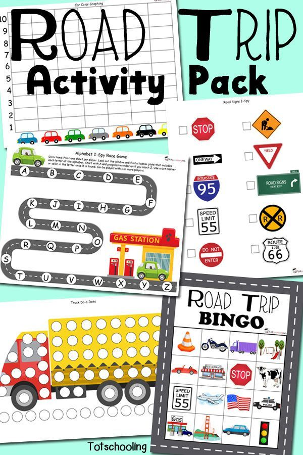 free printable road trip activity pack for traveling with kids featuring do a